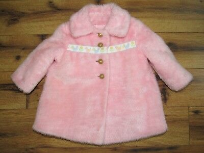 Vintage Carrcraft Original~ Baby Girl Pink Plush Dress Coat~ Gold Buttons~ 12m