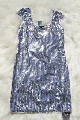 Armani Exchange Women's Silver Sequin mini new sweater dress