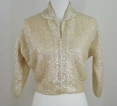 Vintage 50s Ivory Iridescent Sequin A Faris for Nan Duskin Sweater Handmade