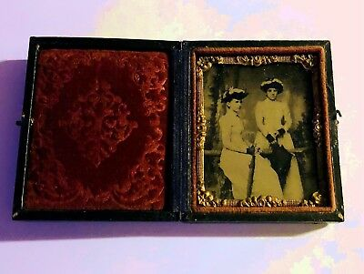 """Antique Folding Union Style Picture Frame~Tin Type in Beautiful condition """"LOOK"""""""