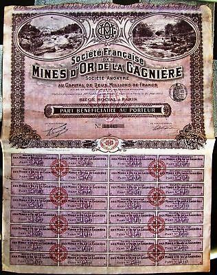 French bond FRANCE GAGNIERES GOLD MINES, 1910 Carrier Recipient