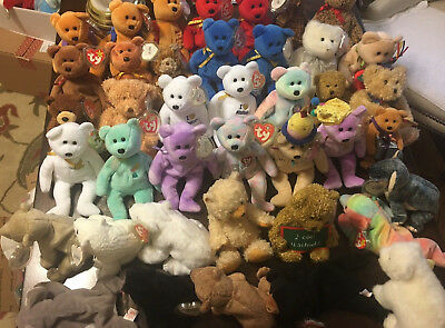 39c90558dec Lot Of 40 Ty Beanie Baby Retired Bears - Mint Bears With Tag Protectors
