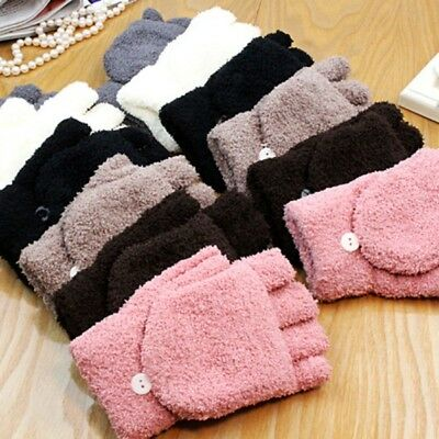 US Men Women Fingerless Glove Winter Warm Half Finger Flip Knitted Mitten Gloves