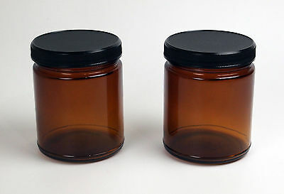 Pair of 9oz Amber Glass Jars Wide mouth,straight walled UV Protection stash two