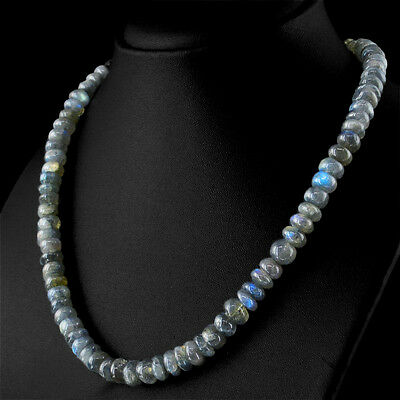 142.00 Cts Natural Round Shape Untreated Blue Flash Labradorite Beads Necklace