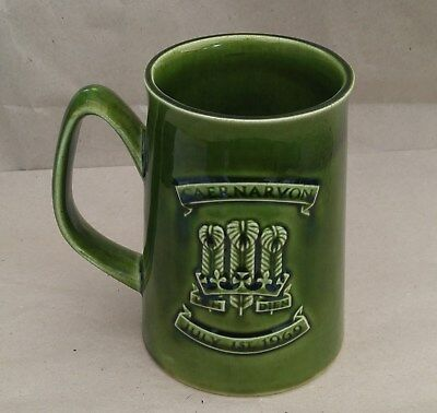 Holkham Pottery Mug Green Investiture H.R.H The Prince of Wales Caernarvon 1969