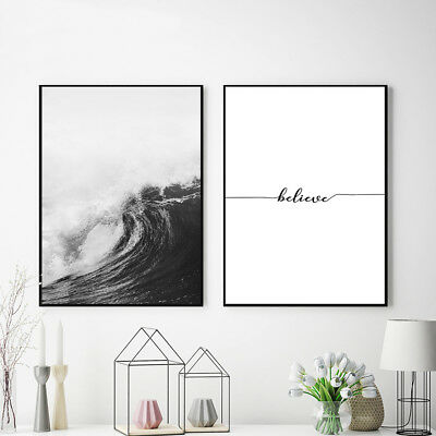 Ocean Sea Waves Nordic Poster Wall Art Canvas Prints Seascape Picture Decoration