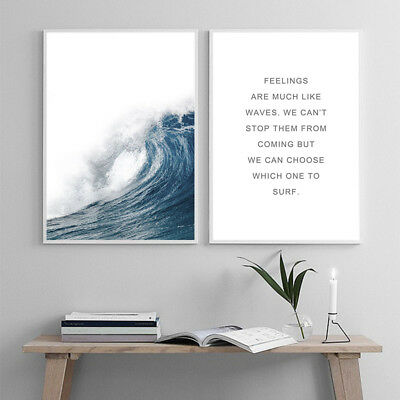Ocean Sea Waves Poster Wall Art Canvas Print Seascape Picture Scandinavian Decor