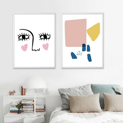 Minimalist Abstract Face Wall Art Canvas Poster Print Nordic Decoration Pictures