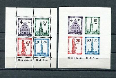 GERMANY FRENCH OCCUPATION ZONE BADEN 1949 FREIBURG SHEETS 5NB8a + b PERFECT MNH