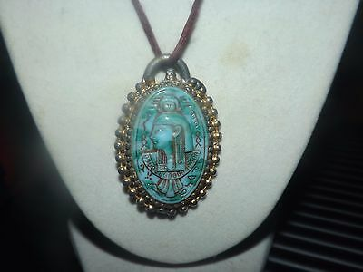 Antique Egyptian Hathor Green Jade Gold Necklace Hand Designed From Egypt