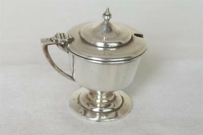 A Superb Solid Sterling Silver Mustard Pot With Glass Liner Birmingham 1908.