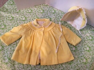 Vintage Millicents Of San Francisco Little Girls Yellow Coat/Matching Bonnet