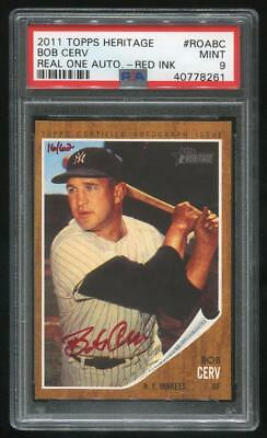 2011 Topps Heritage Real One Red Ink Auto Bob Cerv Psa 9 Mint (40778261)