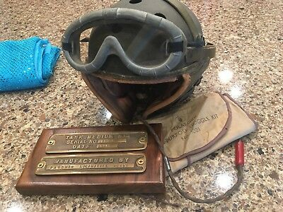 WW2 US Army Lee M3 Tank Data Plates And Helmet Grouping