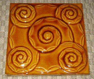 Rare Amber Spirals German SERVAIS Art Nouveau Tile  Carreau 1900 Jugendstil