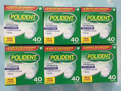 Lot(6) Polident Overnight Whitening Antibacterial Denture Cleanser 40 Tablets Ea