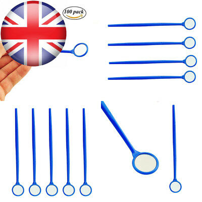 Funwill 100 pcs Dental Disposable Mouth Exam Mirrors Plastic Instrument