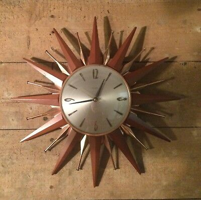 Vintage Retro Metamec Sunburst Wall Clock / Starburst