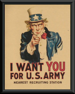WWI Uncle Sam Recruiting Poster Reprint On Original Period Paper *P027