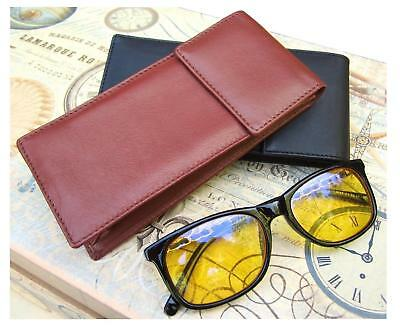 Sunglasses Soft Leather Case Glasses Holder Black or Brown Visconti Unisex New