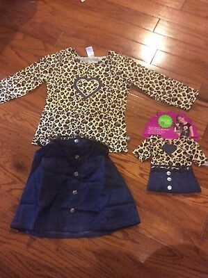Dollie and Me Girls Denim 2 Piece Outfit Size 8 w/Matching Doll Outfit NWT  SALE