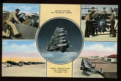Vintage Linen Postcard US Air Training Corps Many Planes  B4688