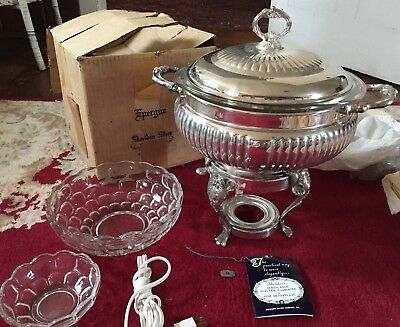 Vintage Epergne Sheridan Silver Queen Anne Electric Cascerole / Chaffing NOS BOX