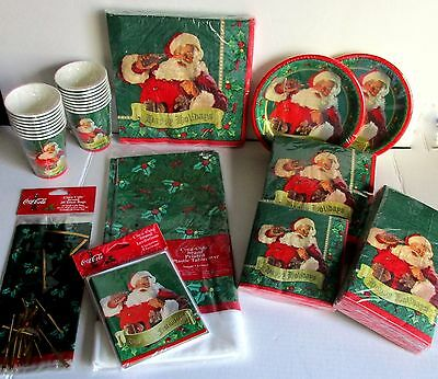 Coca Cola Paper Plate Napkin Cup Bag Party Table Supplies 1999 Christmas Santa