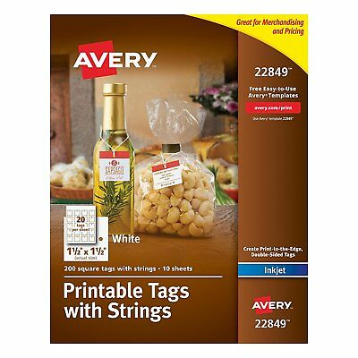 Avery Printable Tags with Strings, White, 1.5 x 1.5 Inches, Pack of 200 22849