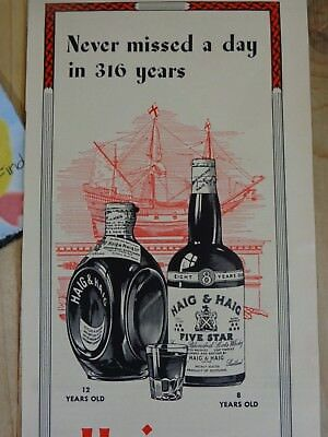 HAIG AND HAIG WHISKEY Magazine Ad Print 1943 WWII Oldest Name in Scotch