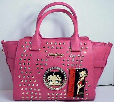 Betty Boop Bling Faux Leather Purse Handbag Satchel Official Licensed Pink