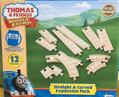 Thomas Wooden Railway Straight And Curved Expansion Pack Track Nib New