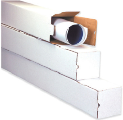Square Mailing Tubes White Corrugated Poster Document Storage Shipping Tube Box
