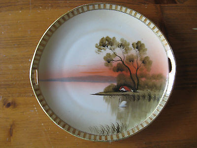 VINTAGE NIPPON HAND PAINTED GILDED 2 HANDLED PLATE c1920