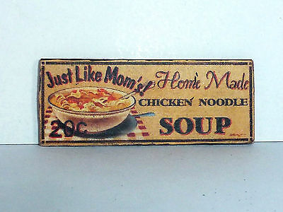 """Schild Holz """"HOME MADE CHICKEN NOODLE SOUP"""", Shabby-Style, Puppenstube, 1:12"""