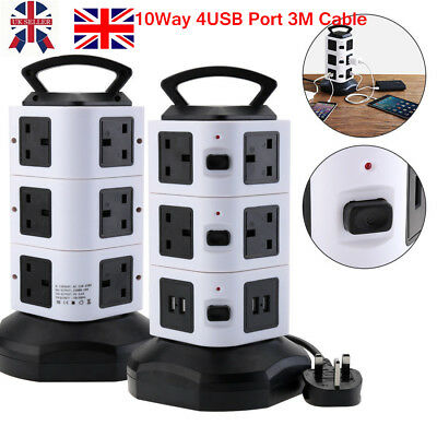 3M Vertical Tower 10 Way Gang + 4USB Overload Protected Extension Lead Plug UK
