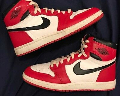the latest 50% off cheap for sale AIR JORDAN 1 Chicago 1985 Size 10.5 Banned Bred Toe Royal ...