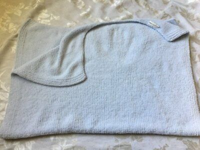 Pottery Barn Kids Baby Blue Ribbed Plush Chenille Knit Crib Stroller Blanket