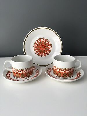 Pair Vintage J&G Meakin Madrid Tea Trios Teacup Saucer Side Plates 1960s Retro