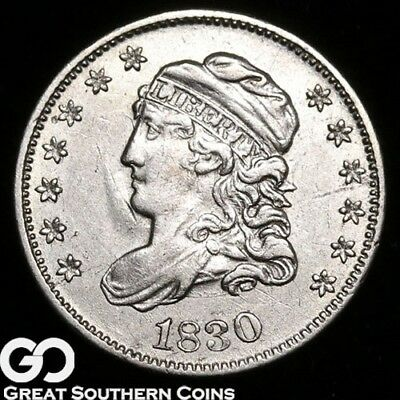 1830 Capped Bust Half Dime, Nice White BU+ Early Silver