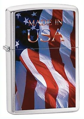 """Zippo Lighter: American Flag """"Made in USA"""" - Brushed Chrome 24797"""