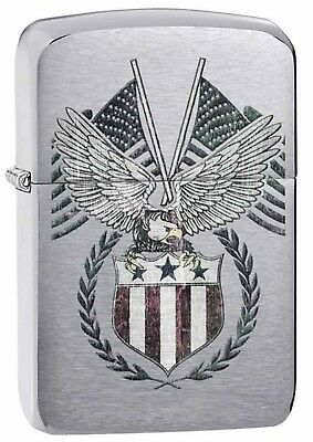 Zippo Lighter: American Eagle and Flags - Brushed Chrome 29093