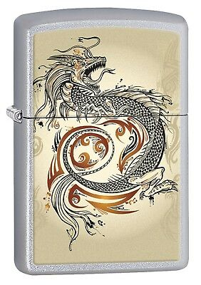 Zippo Lighter: Dragon Tattoo - Satin Chrome 76947