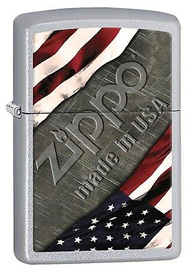 Zippo Lighter: American Flag and Metal - Satin Chrome 77001