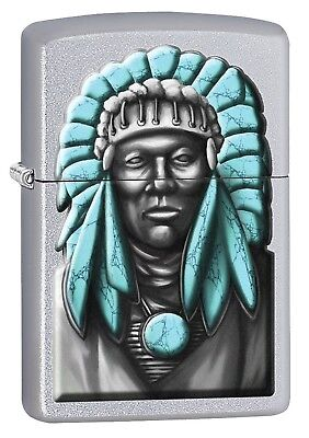 Zippo Lighter: Indian Chief - Satin Chrome 77244