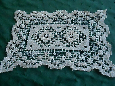 Antique Hand Embroidered Filet Lace Doily, Circa 1930