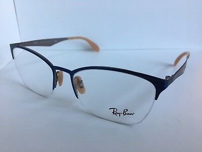 6349bb2104f New Ray-Ban RB 6345 RB6345 2865 52mm Silver Blue Clubmaster Eyeglasses Frame