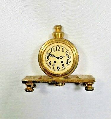 Small Solid Brass Old Fashioned Mantle Clock Vintage Mini Figure 1.5 inch