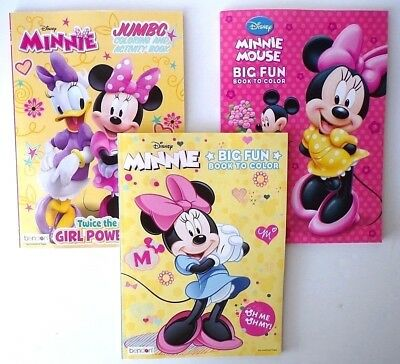Lot of 3 MINNIE MOUSE Disney Jumbo Coloring and Activity Books, for Children